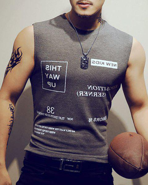 Slimming Letters Printing Summer Men's Tank Top - GRAY XL