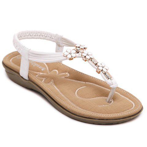 Casual Elastic and Flowers Design Women's Sandals - WHITE 37