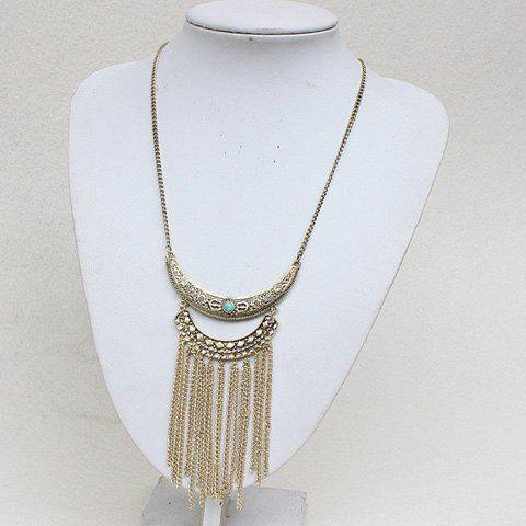 Faux Turquoise Hollow Out Moon Fringed Necklace - GOLDEN