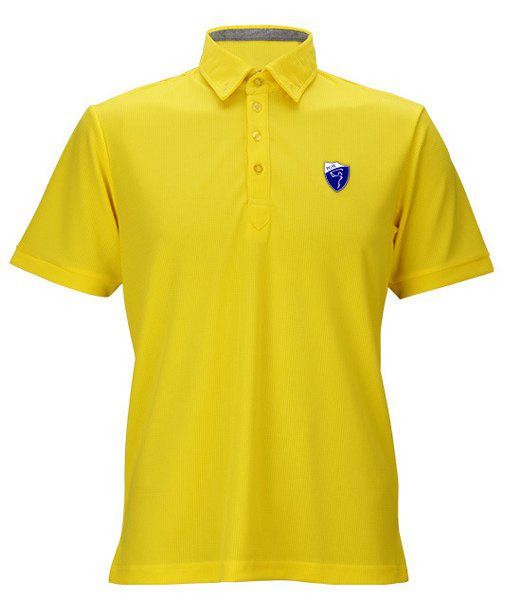 Solid Color Badge Turn-Down Collar Short Sleeve Men's Polo T-Shirt - YELLOW XL