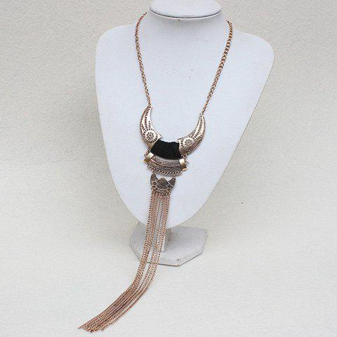 Ox Horn Hollow Out Long Fringed Necklace - GOLDEN