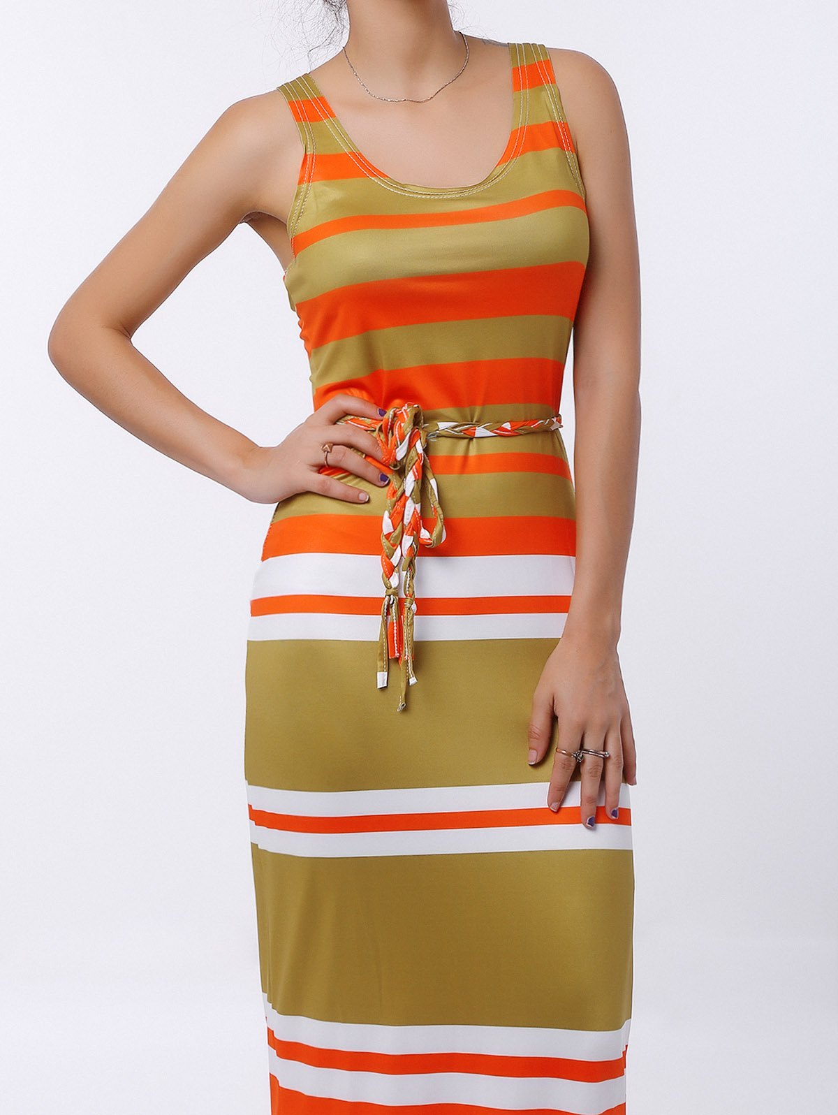 Brief Stripe U-Neck Sleeveless Dress For Women - COLORMIX M