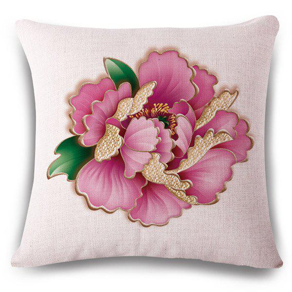 Fashionable Pink Peony Pattern Square Shape Flax Pillowcase (Without Pillow Inner)