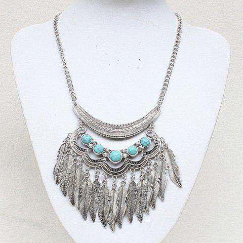 Fake Turquoise Leaf Pendant Necklace - SILVER