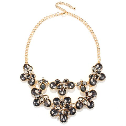 Floral Faux Crystal Water Drop Necklace - GRAY