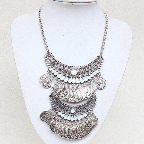 Gorgeous Hollow Out Water Drop Coin Tassel Necklace For Women - SILVER