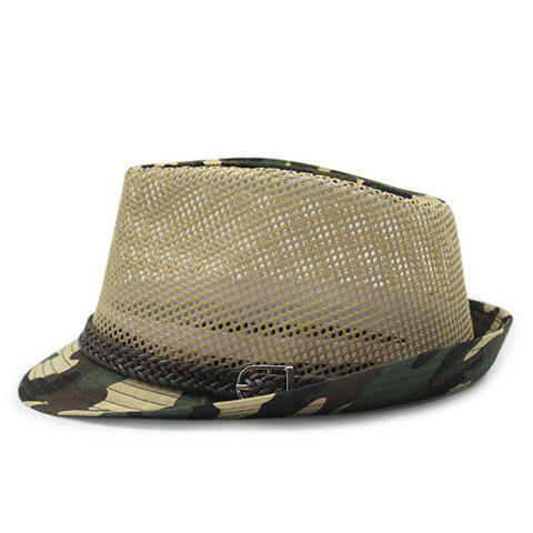 Stylish Belt and Mesh Embellished Camouflage Pattern Men's Jazz Hat - LIGHT KHAKI