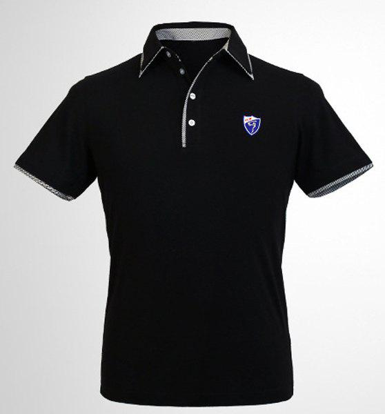 Checked Spliced Badge Turn-Down Collar Short Sleeve Men's Polo T-Shirt - BLACK XL