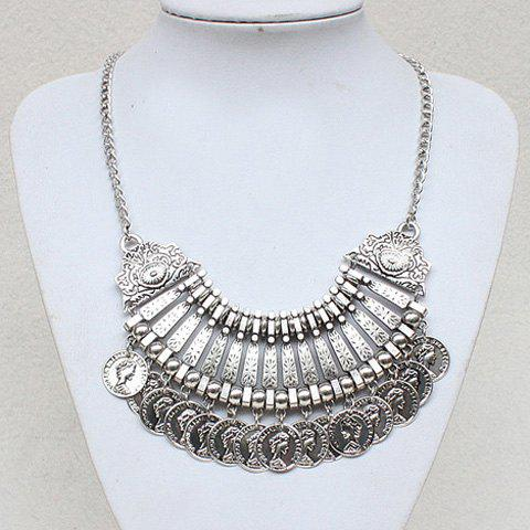 Gorgeous Solid Color Embossed Coin Tassel Necklace For Women