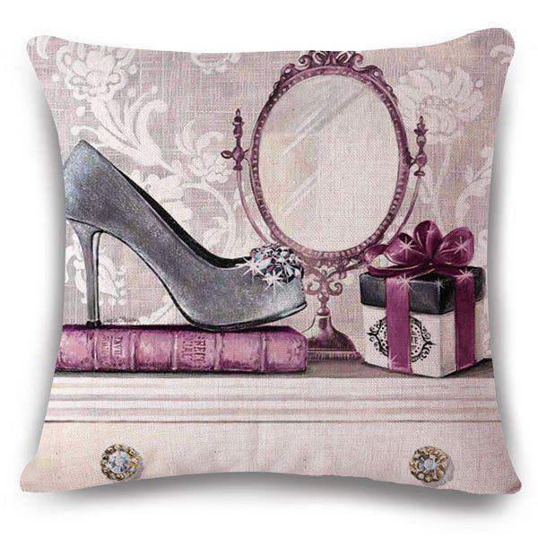 Fashionable Hand-Painted High Heels Pattern Square Shape Flax Pillowcase (Without Pillow Inner) - COLORMIX
