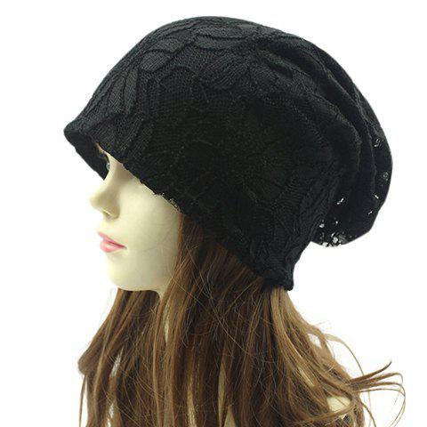 Chic Flower Pattern Lace Embellished Women's Double-Deck Beanie - BLACK