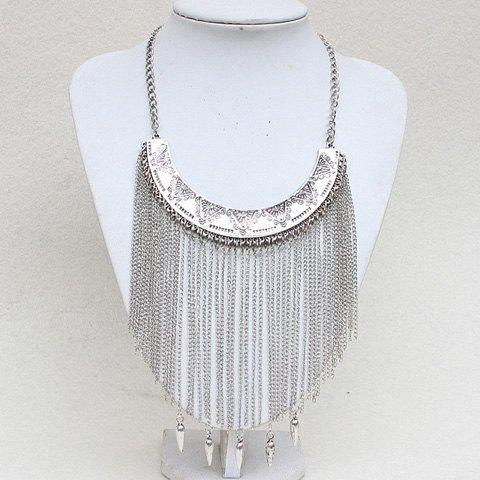 Flower Carving Long Fringed Necklace - SILVER