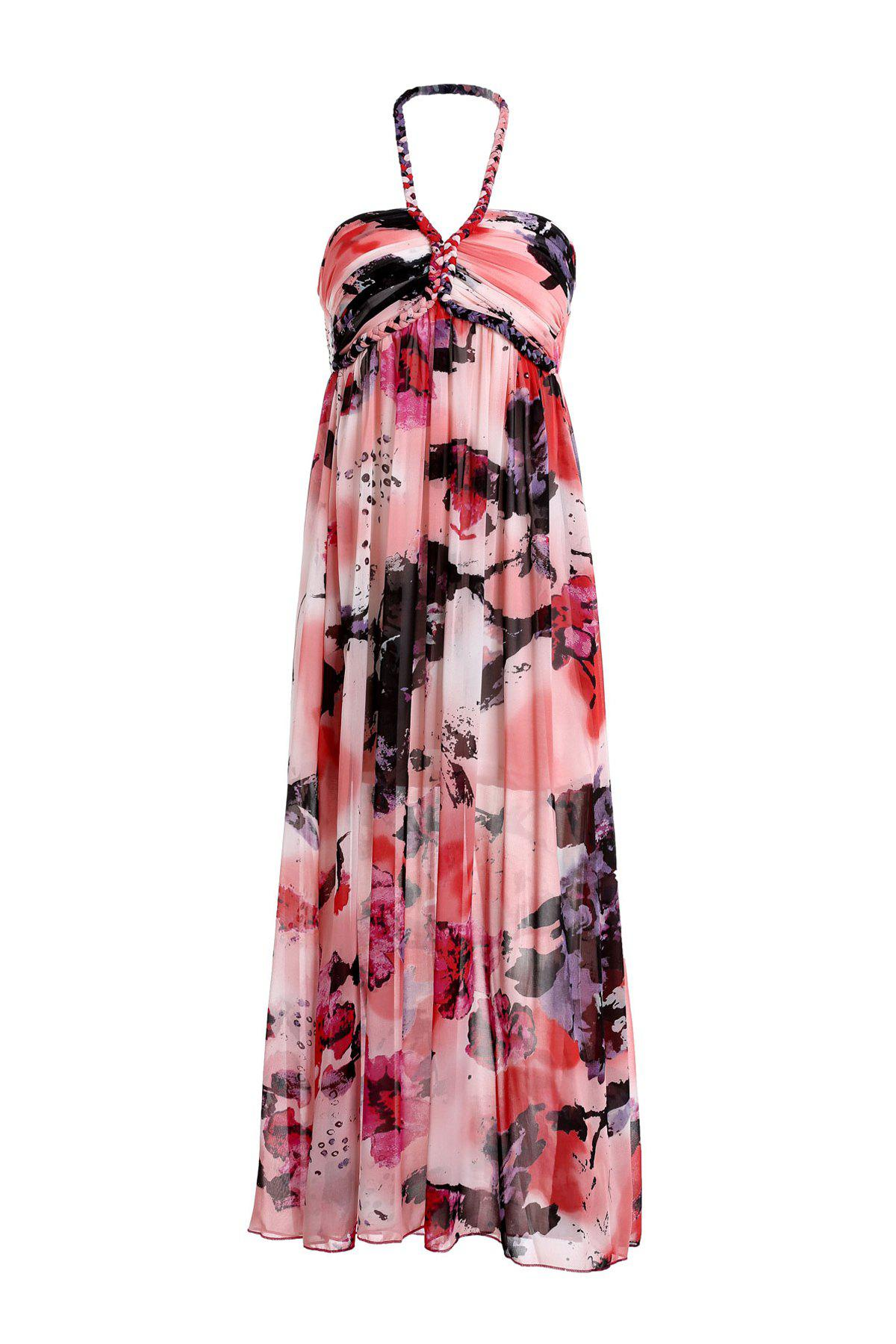 Fashionable Sleeveless Halter Pleated Printed Women's Dress - COLORMIX ONE SIZE(FIT SIZE XS TO M)
