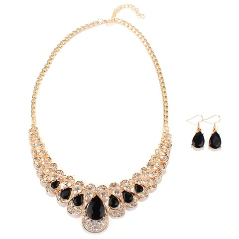 Rhinestoned Water Drop Wedding Jewelry Set - BLACK