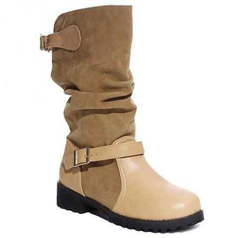 Stylish Splicing and Buckles Design Mid-Calf Boots For Women - LIGHT BROWN 37