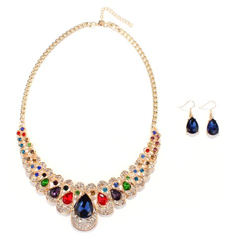 A Suit of Water Drop Faux Gem Necklace and Earrings - COLORMIX