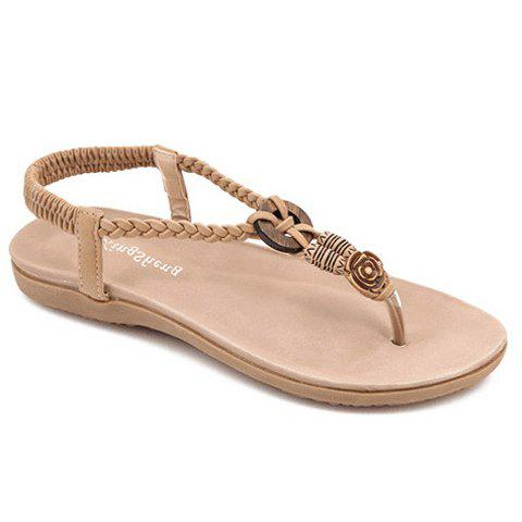 Simple Weaving and Elastic Design Women's Sandals - APRICOT 37