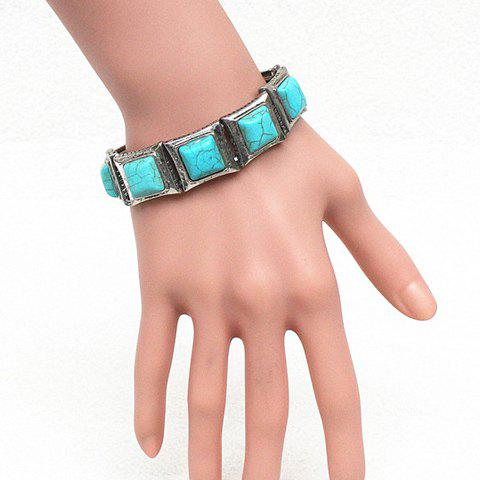 Gorgeous Square Fake Turquoise Elastic Bracelet For Women - SILVER/BLUE