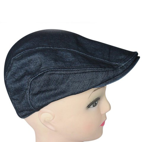 Stylish Solid Color Denim Fabric Cabbie Hat