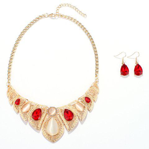 A Suit of Water Drop Alloy Necklace and Earrings - GOLD/RED