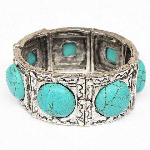 Round Fake Turquoise Embossed Bracelet - SILVER/BLUE