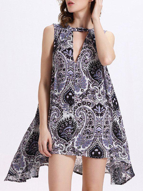 Trendy Keyhole Neck Sleeveless Print Dress For WomenWomen<br><br><br>Size: XL<br>Color: CADETBLUE