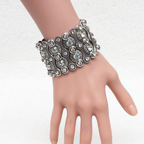 Gorgeous Rhinestone Embossed Wide Elastic Bracelet For Women - SILVER