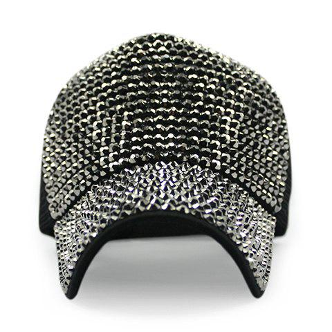 Chic Rhinestones and Mesh Embellished Women's Baseball Cap - BLACK