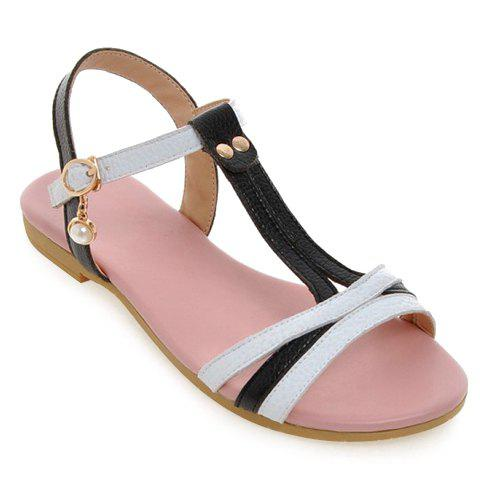 Casual Color Block and T-Strap Design Women's Sandals - BLACK 36