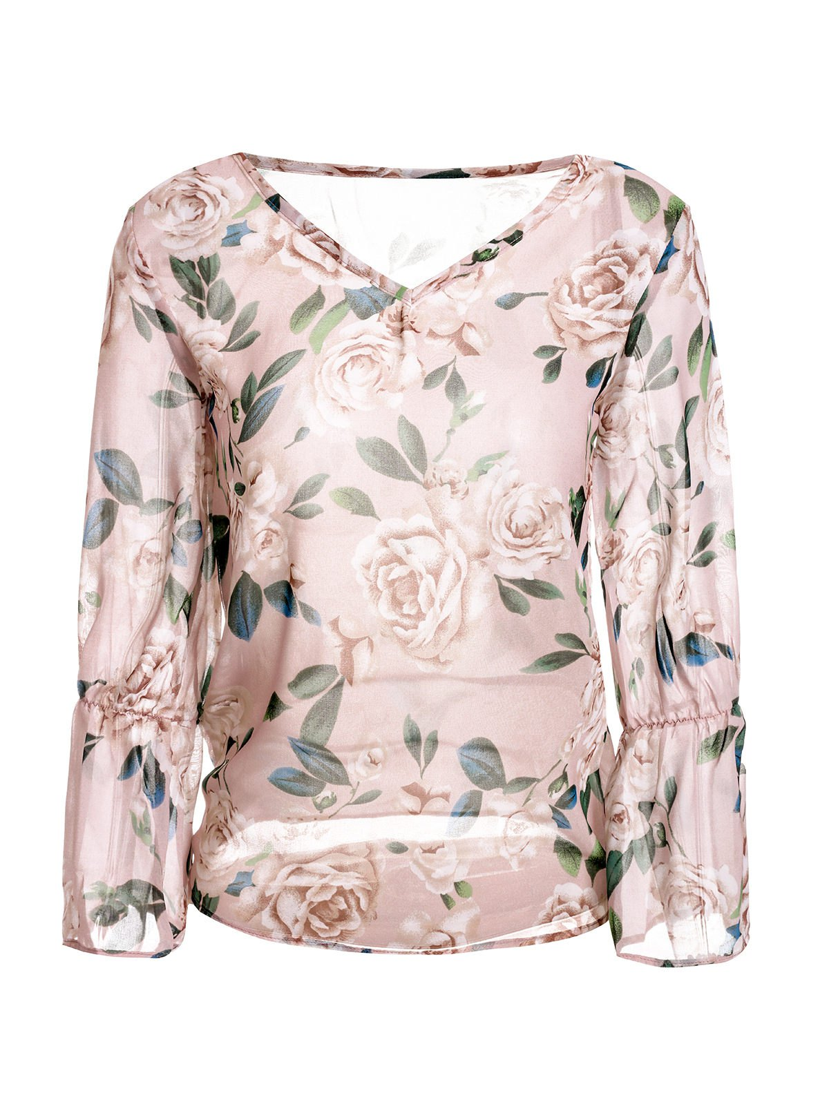 Trendy V-Neck Long Sleeve Floral Print See-Through Women's Blouse