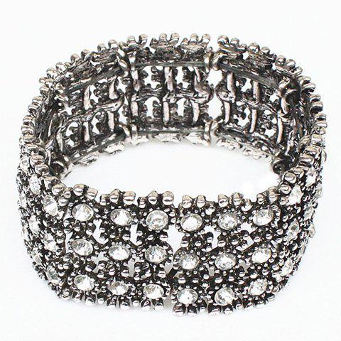 Rhinestone Hollow Out Elastic Bracelet - SILVER