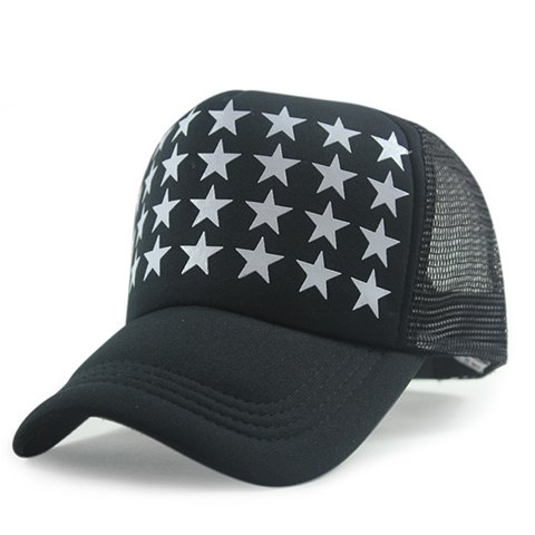 Chic Mesh Embellished Five-Pointed Stars Pattern Women's Baseball Cap - BLACK
