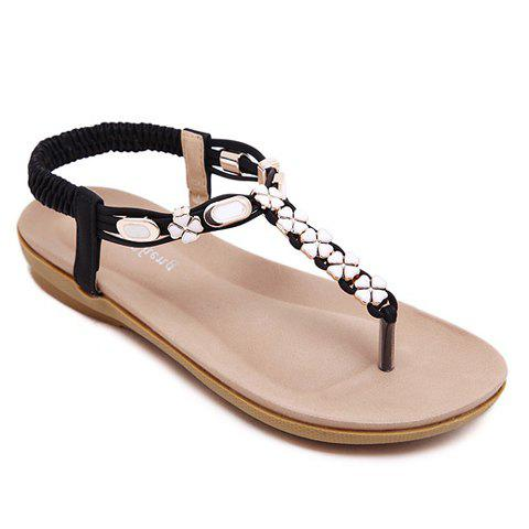 Casual Metal and Flowers Design Women's Sandals - BLACK 38