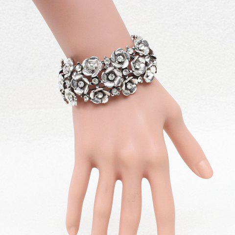Gorgeous Rhinestone Flowers Elastic Bracelet For Women