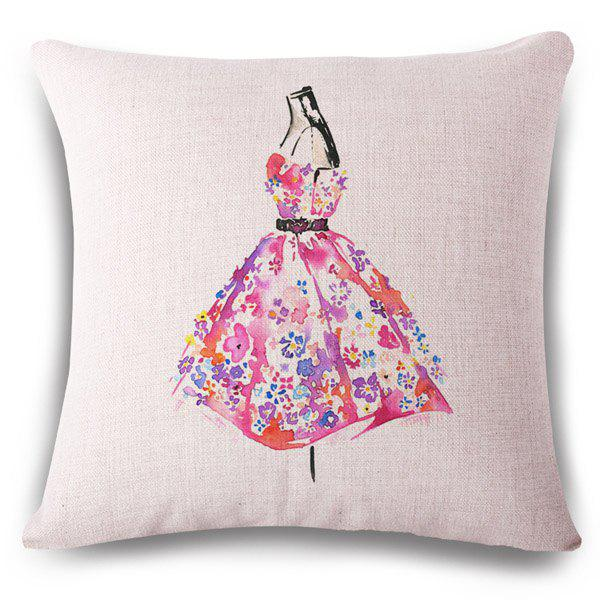 Fashionable Floral Dress Watercolor Pattern Square Shape Flax Pillowcase (Without Pillow Inner) - COLORMIX