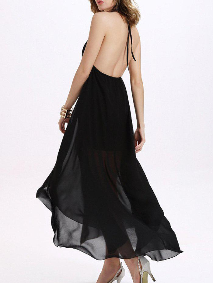 Trendy Backless Halter Chiffon Furcal Dress For Women - BLACK M