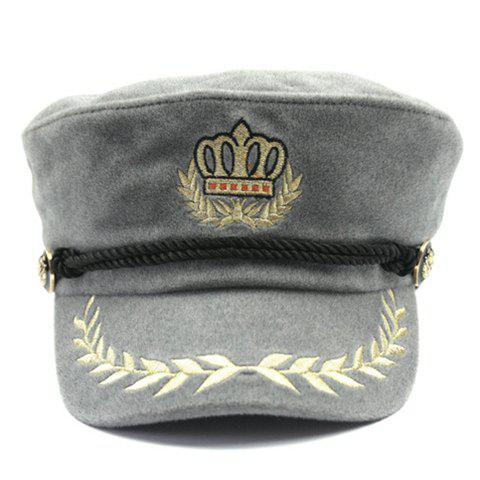 Stylish Olive Leaf and Crown Embroidery Men's Faux Wool Military Hat - LIGHT GRAY