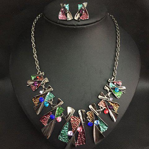 Stylish Colorful X-Shaped Pendant Necklace With A Pair of Earrings For Women