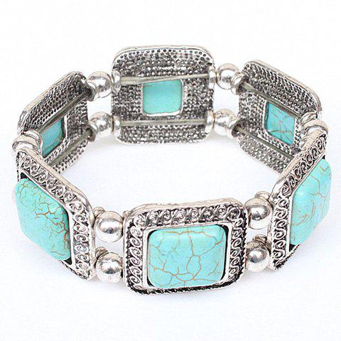Faux Turquoise Bead Carving Bracelet - SILVER