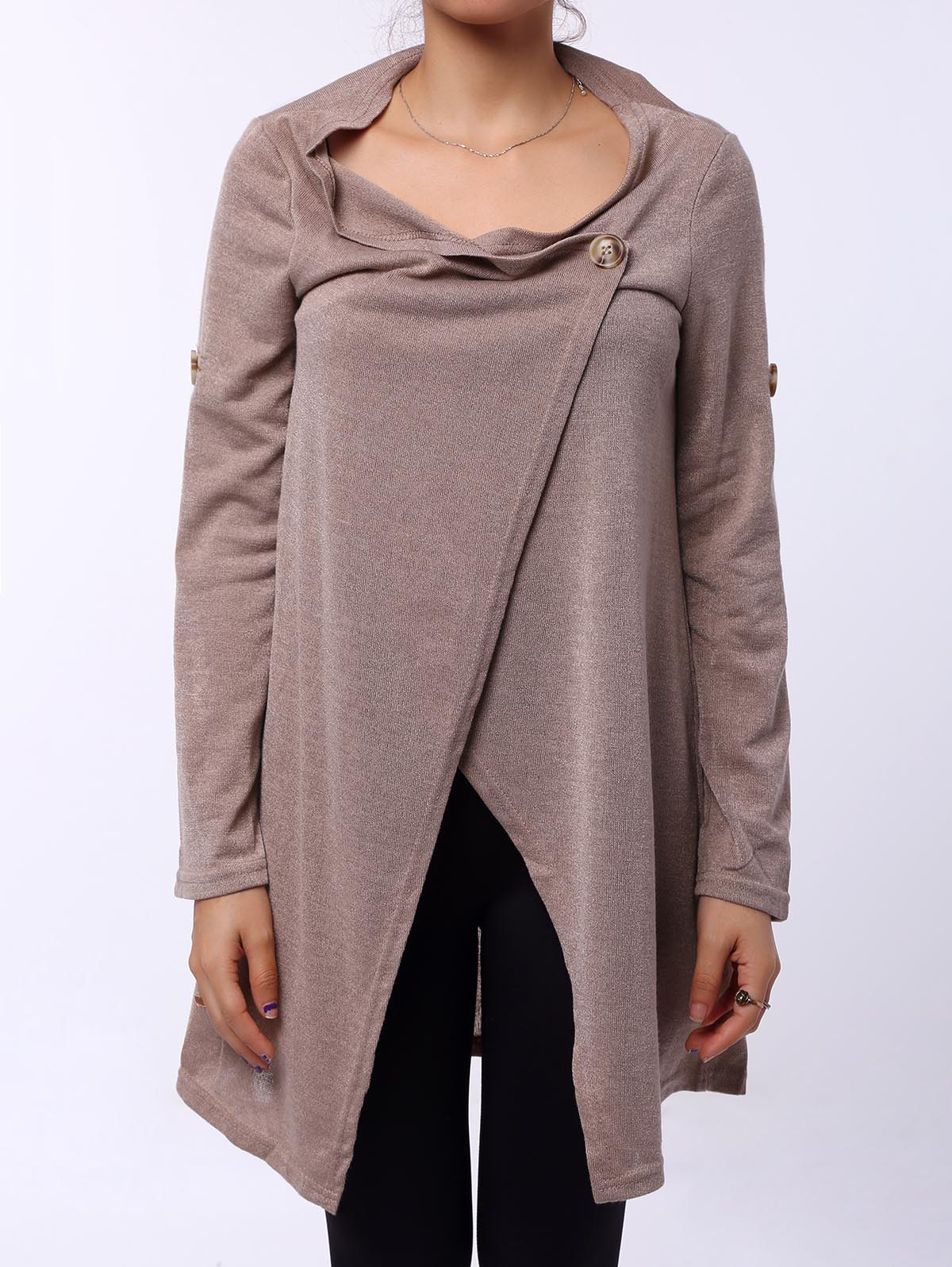 Graceful Cowl Neck Solid Color Slit Asymmetric Pullover Sweater For Women calvin klein new ivory black colorblock women s xs cowl neck sweater $89 090