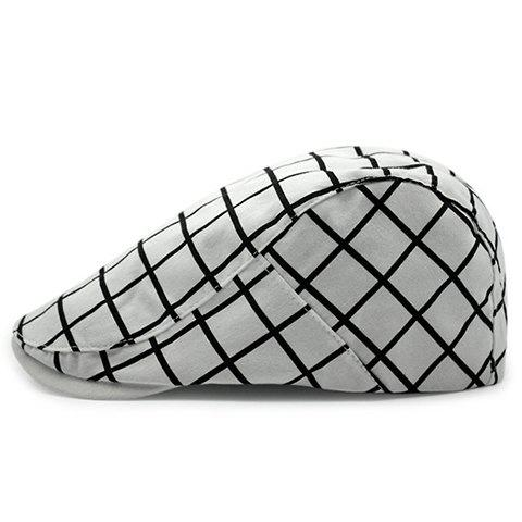 Stylish Men's Checkered Pattern Cabbie Hat - WHITE