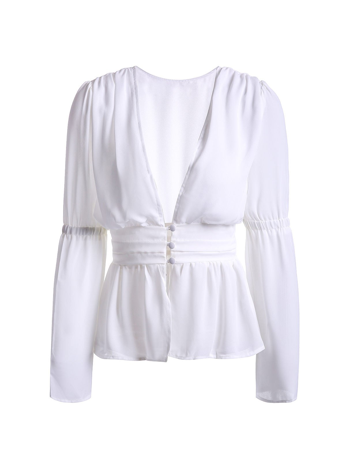 Trendy Plunging Neckline White See-Through Women's Blouse - WHITE S
