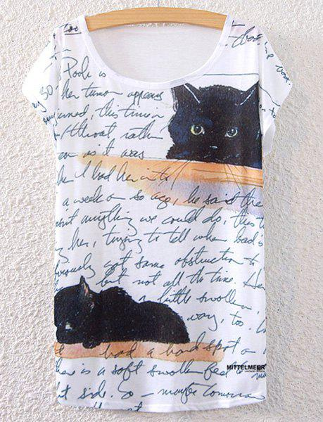 Kitten Print Short Sleeve T-Shirt - WHITE ONE SIZE(FIT SIZE XS TO M)