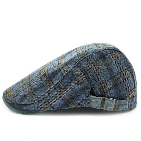 Stylish Plaid Pattern Men's Casual Cabbie Hat - LIGHT BLUE