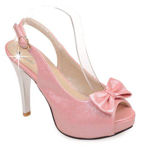 Graceful Solid Color and Bow Design Women's Sandals - PINK 38