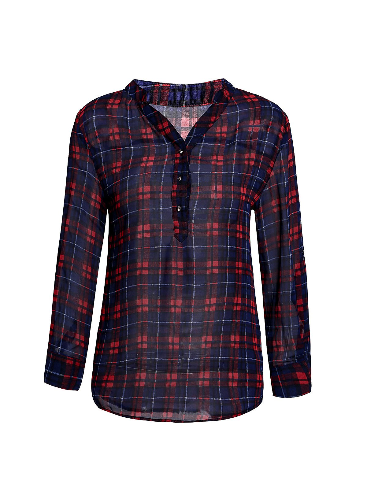 Trendy V-Neck 3/4 Sleeve Plaid See-Through Women's Blouse - RED XS