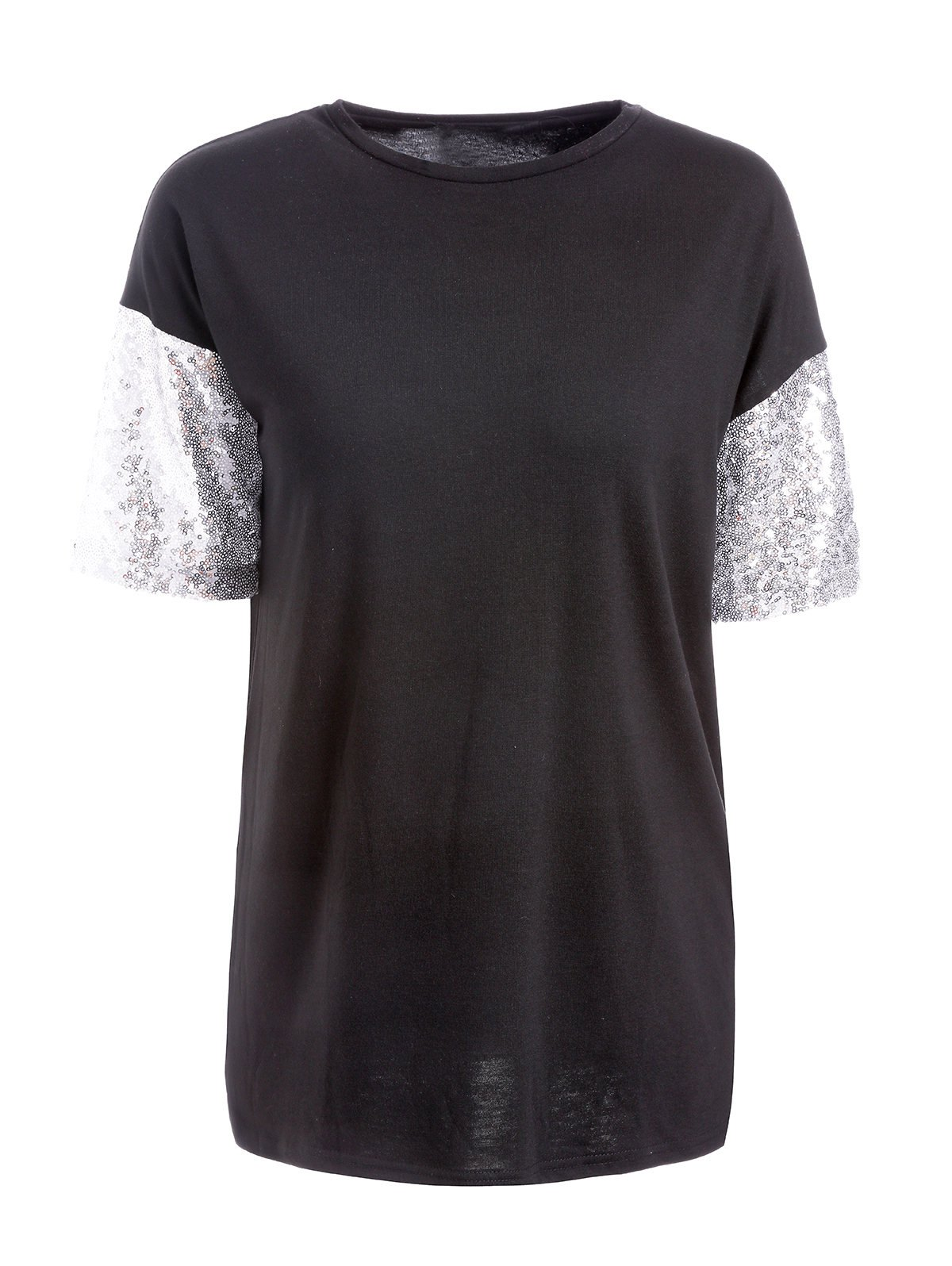 Casual Women's Round Neck Short Sleeve Sequined T-Shirt - BLACK XL