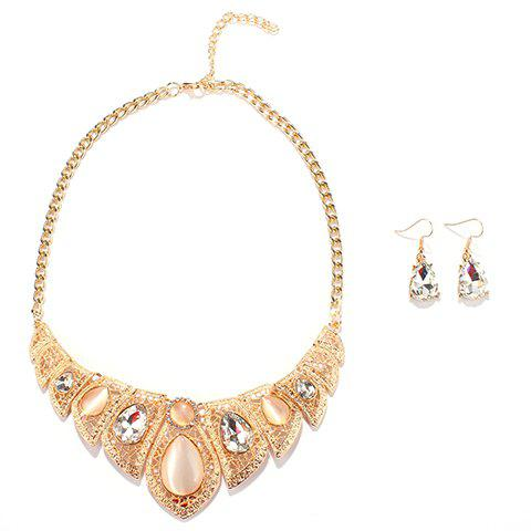 A Suit of Stylish Faux Opal Water Drop Necklace and Earrings For Women