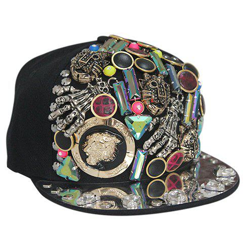 Stylish Buttons and Skeleton Embellished Men's Black Baseball Cap - BLACK