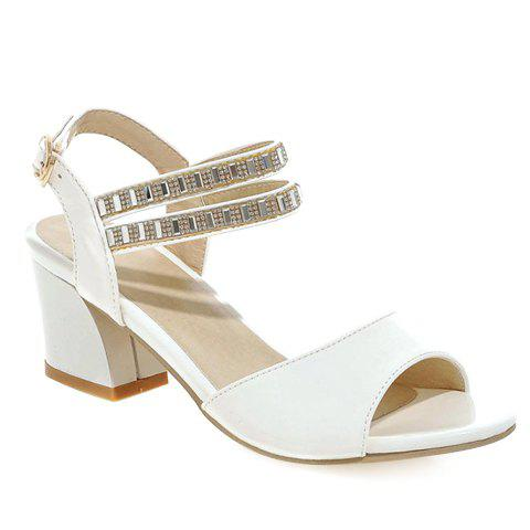 Casual Solid Color and Rhinestone Design Women's Sandals - WHITE 35